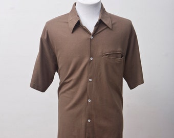 Men's Shirt / Vintage Brown Leisure Shirt by Haband / Size Medium