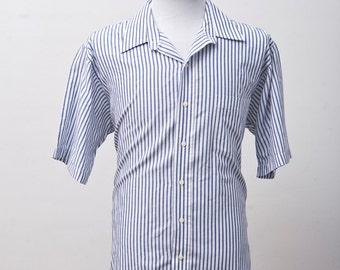Men's Summer Shirt / Blue Striped Shirt / Oxford Shirt / Nautical Prep / Size Large