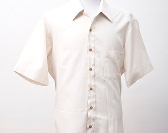 Men's Summer Shirt / Shortsleeve Vintage Button Down Shirt / Size XL