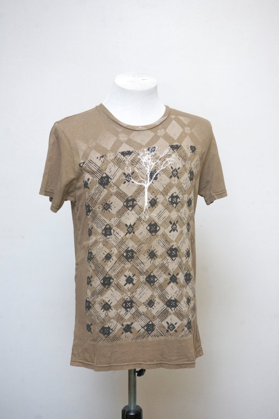 Small Upcycled Tee Shirt with Screen Printed Tree