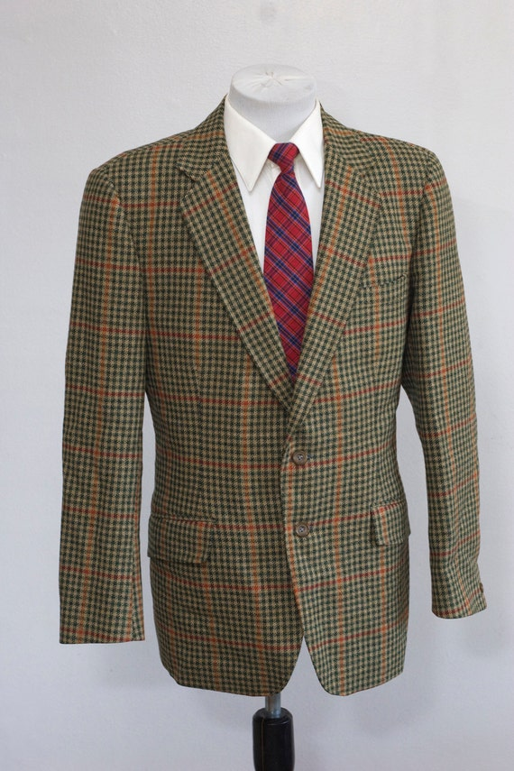 Men's Blazer / Vintage Plaid Wool Jacket / Green Houndstooth / Size 40/Medium
