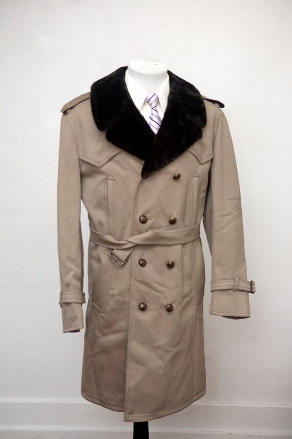 Size 44 Vintage Gabardine Overcoat with Faux Fur Collar