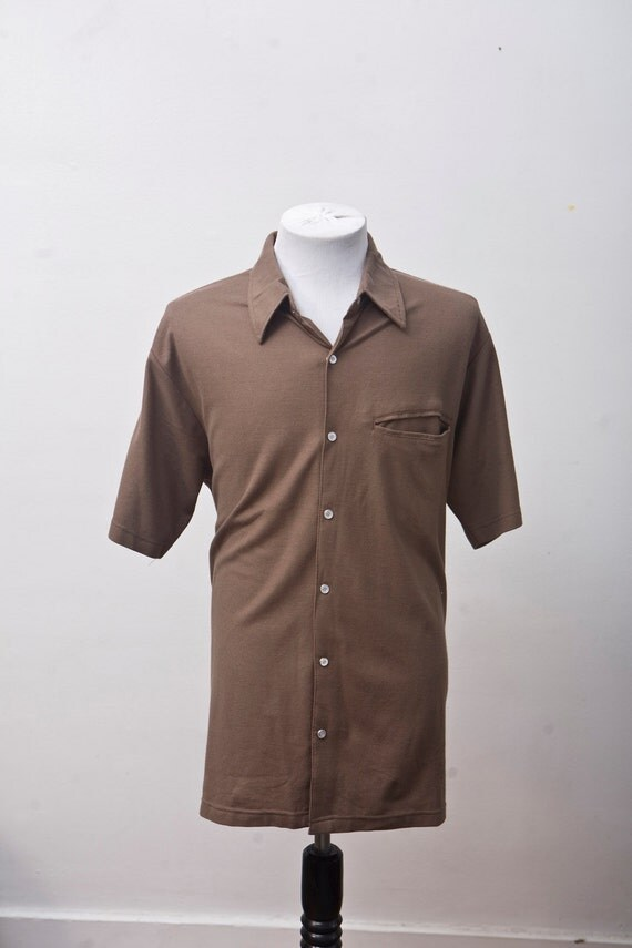 Men's Shirt / Vintage Brown Leisure Shirt by Haband / Size Medium