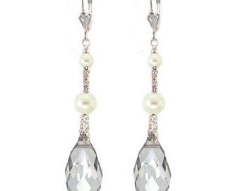 Marisa Earrings in Silver & Ivory