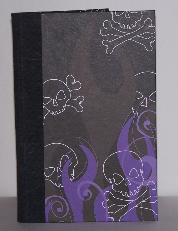 purple and black skull and flame journal