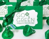 St. Patrick's Day Party Favors - Green Shamrock Candy Treat Bags and Toppers - Personalized Saint Patricks Day Favor Bags