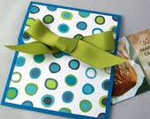 Gift Card Holder - Blue and Green Polka Dot - Birthday, Father's Day, Teacher Thank You Gift - AcarrdianCards