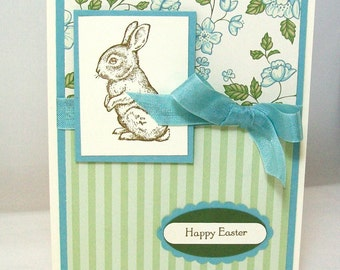 Hand Stamped Easter Card - Vintage Inspired Happy Easter Card - Blue and Green Chocolate Bunny Easter Card