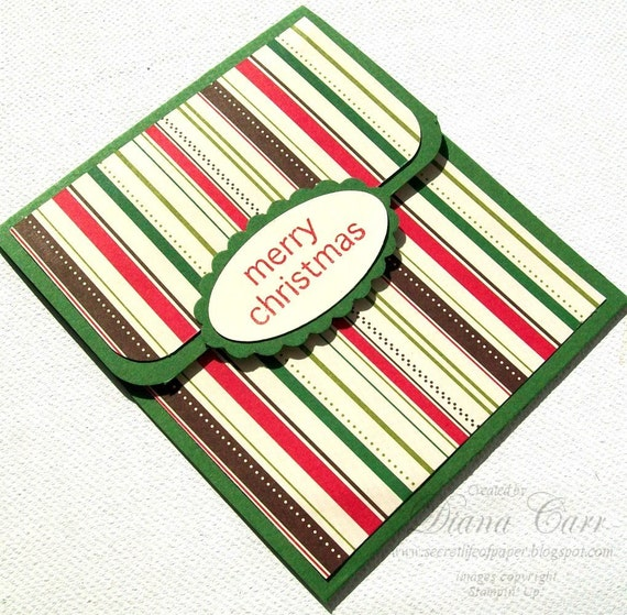 Christmas Gift Card Holder - Holiday Stripe in Red and Green - Christmas in July Sale, CIJ