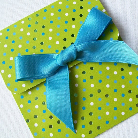 Handmade Chartreuse Gift Card Holder - Gorgeous Green and Blue Metallic Polka Dot  - Birthdays, Weddings, Baby Showers