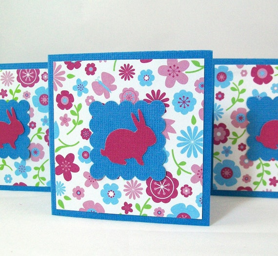 Easter Mini Note Cards - Little Bunny - Set of 4 (3x3 with Envelopes) - Gift Tags