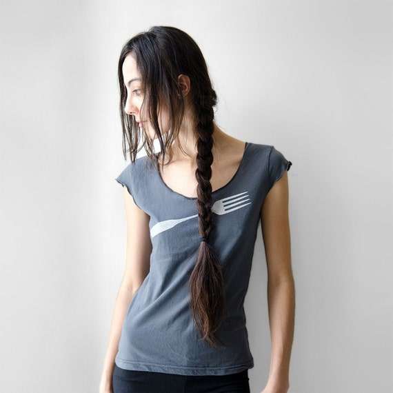 Charcoal Womens Fork T-Shirt in Small, metallic silver fork print, gift under 25, gift for chef, gift for sister, gift for teen