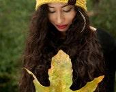 Pear Beanie Hat - yellow green crochet
