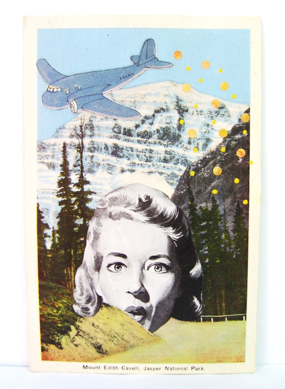 Mount Edith. Altered postcard collage