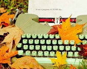Vintage typewriter photograph . autumn leaves . orange yellow aqua . cottage decor . nature photograph . It Was a Gorgeous AUTUMN Day
