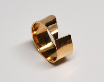 Angular wide band hammered bronze ring