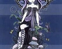 Cassandra Cute Nature Mushroom Butterfly Fairy Signed Art Print by Myka Jelina