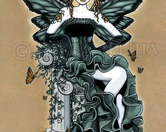 Gothic Couture Butterfly Fairy Art Signed PRINT Phoebe