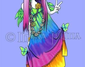 Rainbow Hippie Butterfly Fairy Art OOAK ACEO Chloe