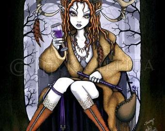 Nature Spirit Therianthrope Goddess Horned Wine Fae Tawny Art Print