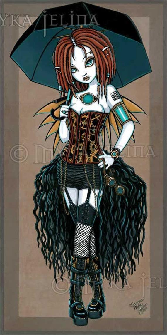 ON SALE Samara Steampunk Cyber Fusion Fairy Original Painting