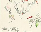 Geometric Birds in Haiti, Abstract Watercolor Birds, 8.5x11 Art Print
