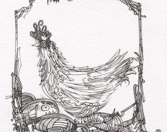 Miniature Artwork, Free 5x7 or 8x10 mat, Black and White Drawing, Hen with a Hairdo