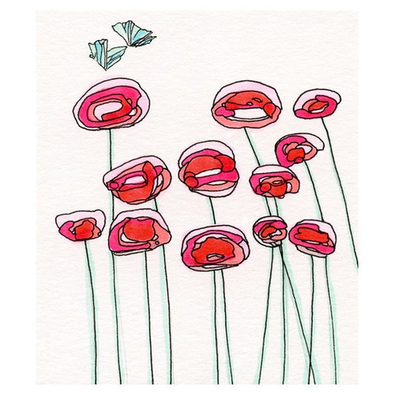 Red Poppies, Watercolor Reproduction, Painting of Flowers, abstract flowers, butterflies, art print