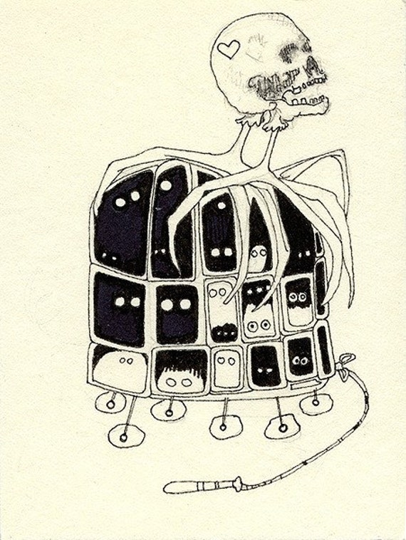 Sylvia Plath's Pull Toy, Original Drawing in Cream and Black