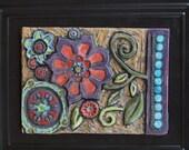 Framed Mosaic Tile - Blossom Raku Clay Tile Wall Art Framed - Colorful Floral Botanical Pottery Boho Home Decor