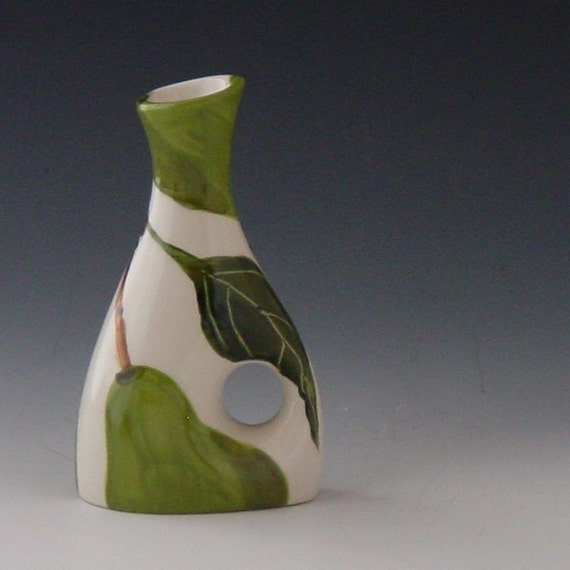 Small Bud Vase - Pear Small Funky Vase - Colorful Handpainted Green Pear Pottery for Happy Home Decor Gifts
