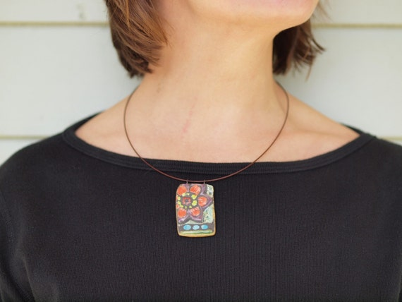 Mosaic Pendant Necklace Pottery Pendant Necklace Boho Necklace Blossom Raku Clay Tile Necklace Ceramic Jewelry Valentine Gift Romy & Clare