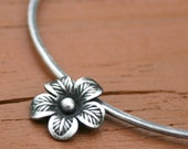 Flower Bangle, Floral Bracelet,  Fine Silver Bangle, Oxidized Bangle Bracelet, Flower Charm Bracelet, 8 inch Bangle by Maggie McMane Designs