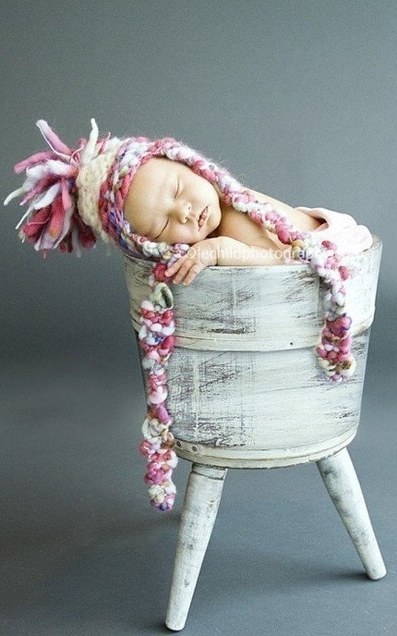 RESERVED for Christa  Photography Prop - Baby Knit Hat - Aviator - Earflap