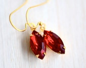 Siam Ruby Earrings, Statement Jewelry, Diamond Shape Earrings, Navette Rhinestone, Long Dangle Earrings, Vintage Style, Sparkly Earrings
