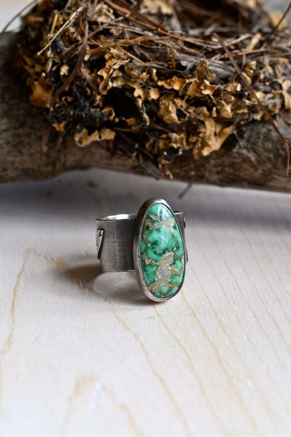 Variscite and Sterling Silver Songbird Ring, NEST, ON SALE