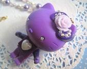 Japan Harajuku Lolita Style Sweet Purple Dolly Lace Rose Crystals Hello Kitty Brick Long Chunky Necklace