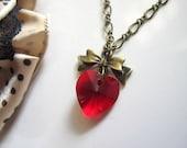 In Love Romantic Love Swarovski Crystal Red Heart Ribbon Bow Pendant Necklace