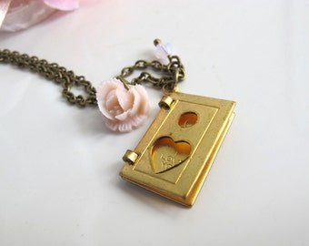 Special I Love You Card Gold Brass Charm Soft Dusty Pink Lace Rose Swarovski Crystal Necklace