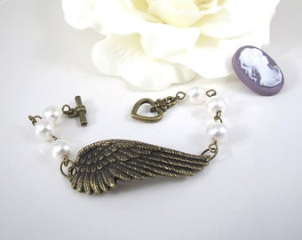 Vintage Inspired. Guardian Angel. Solo Flight. Feather Wing Swarovski Pearls Cuff Bracelet