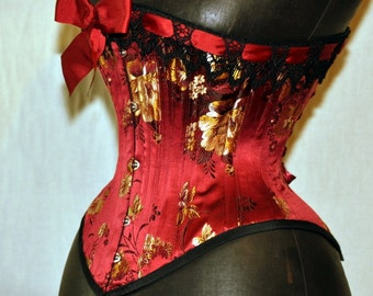 Handmade Brocade Red Silk Mid-Bust Corset Custom Made Just for You
