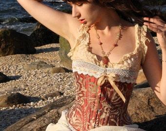 Bronze Steampunk Corset- Brocade Silk- Steampunk Wedding- Lingerie