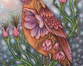 "Hope Eternal - an 8 x 10"" ART PRINT of a spring inspiring pink and orange bird who iinvokes peaceful thinking and a calm gentle attitude"