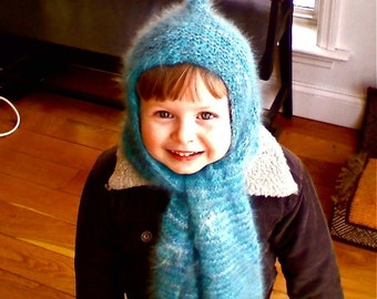 Linus Hat Scarf Pattern PDF Knit Knitted Elf Hooded Harf Scood