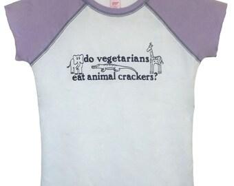 4 DOLLAR SALE: Do Vegetarians Eat Animal Crackers t-shirt (Girls 7/8, 10/12, 14/16)