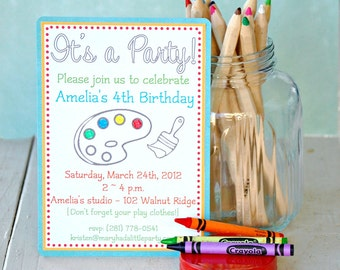 The ART PARTY Collection - Custom Invitations from Mary Had a Little Party Set of SIX
