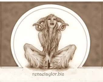 Laughing Faun, Greeting Card by Renae Taylor