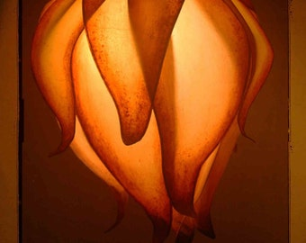 Rust and Gold  Paper Flower Standard Lotus Luminaire (Lamp) By Renae Taylor