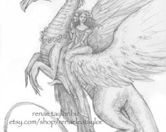 Dragon Rider by Renae Taylor (Original Drawing)