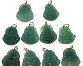 Chalcedony Pendant 09 Spiritual Lot of 10 Green Laughing Buddha Gemstone Set